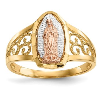 14k Two-tone w/White Rhodium Lady of Guadalupe Ring