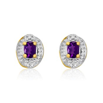 14k Yellow Gold Amethyst Earrings with Diamonds