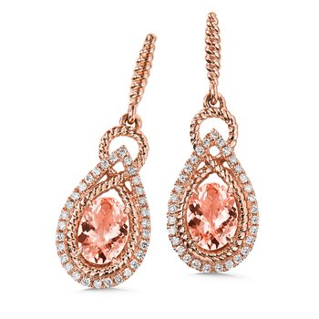 Morganite & Diamond Earrings in 14K Rose Gold