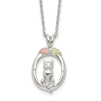 Sterling Silver & 12k Accents Cat Necklace