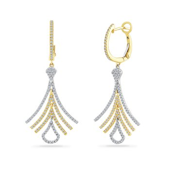 14K fan shaped drop earring with 250 diamonds 0.71CT