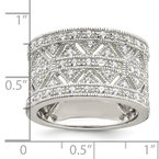 Arizona Diamond Center Collection Sterling Silver Rhodium-plated Polished CZ Vintage Ring