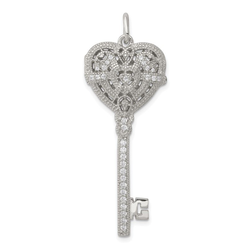 Quality Gold Sterling Silver CZ Heart Key Locket