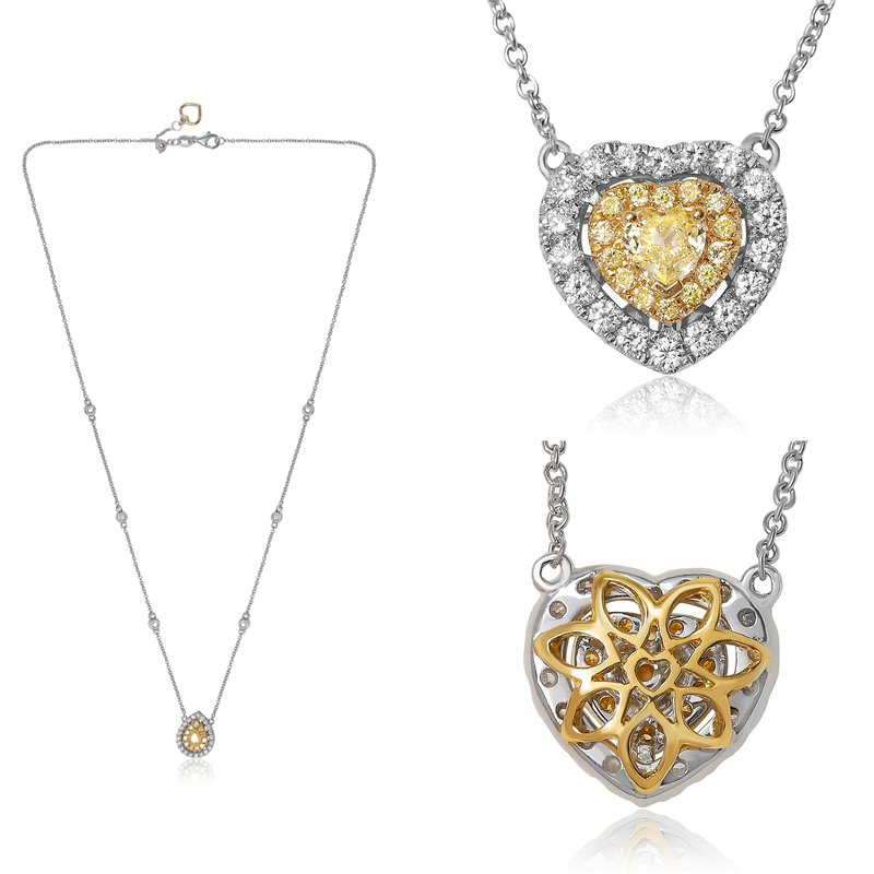 Roman & Jules Diamond Heart Drop Necklace