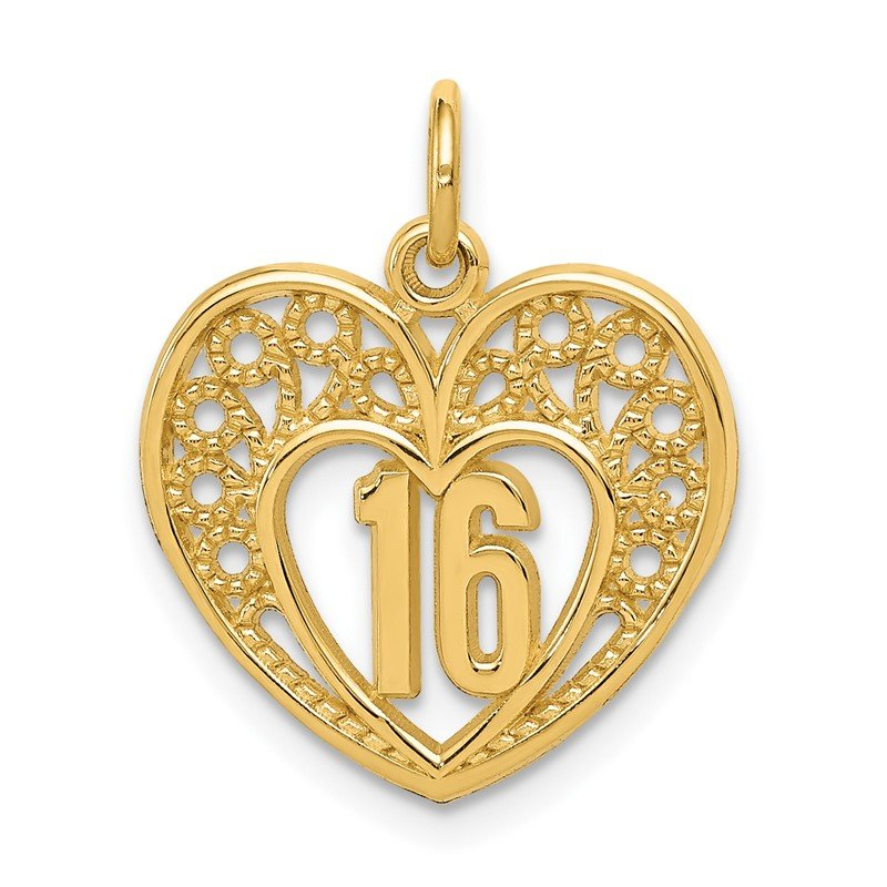 Quality Gold 14k 16 Heart Charm