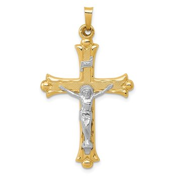 14k Two-Tone Textured and Polished INRI Crucifix Pendant