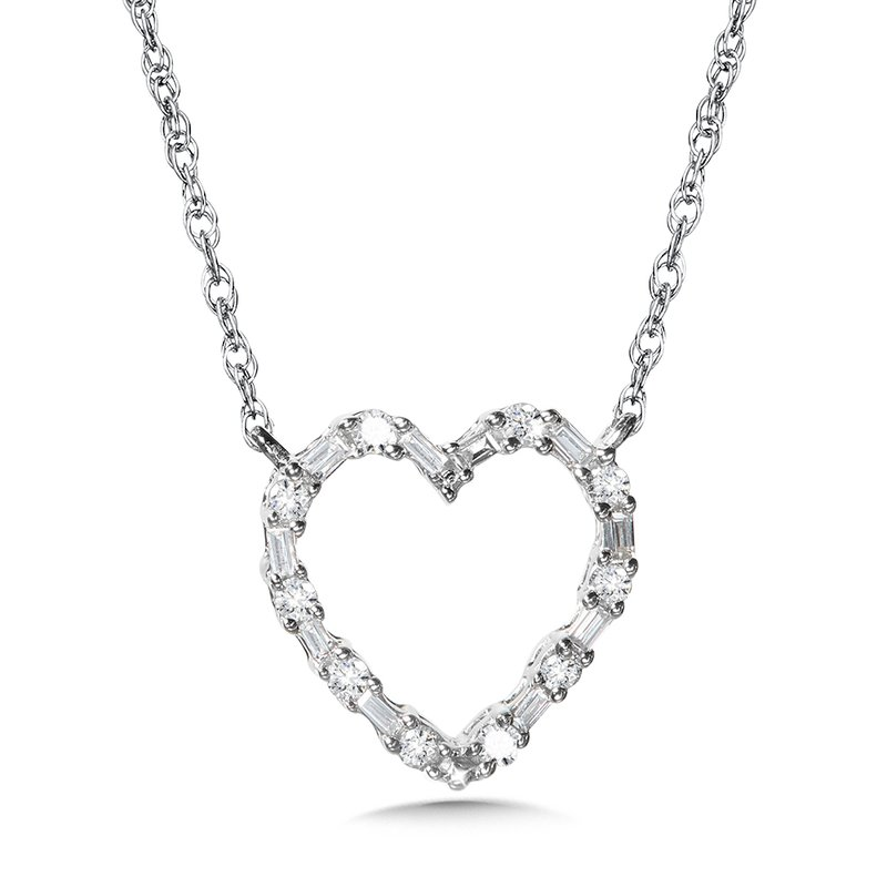 10K Prong-Set Baguette Diamond Heart Pendant