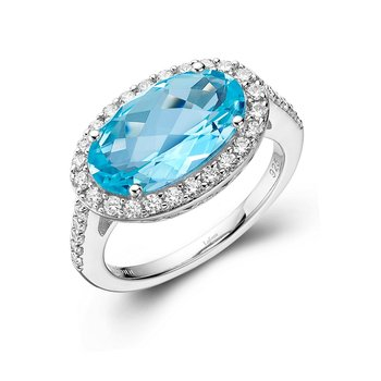 Genuine Blue Topaz Halo Ring
