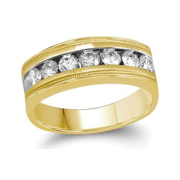 10kt Yellow Gold Mens Round Diamond Single Row Milgrain Wedding Band Ring 1.00 Cttw
