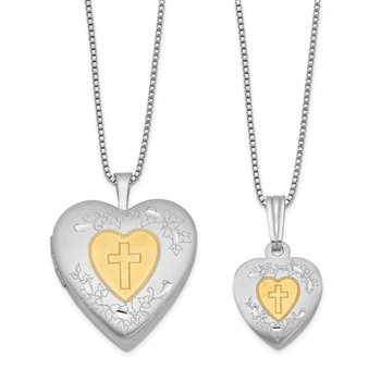 Sterling Silver RH-plated Gold-plated Satin Cross Heart Locket/Pendant Set