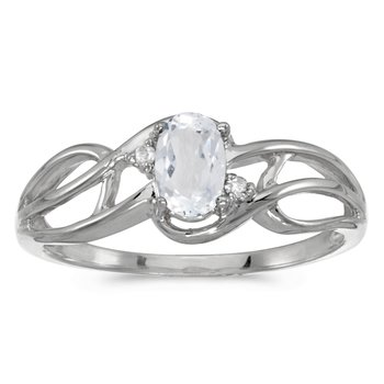 10k White Gold Oval White Topaz And Diamond Curve Ring