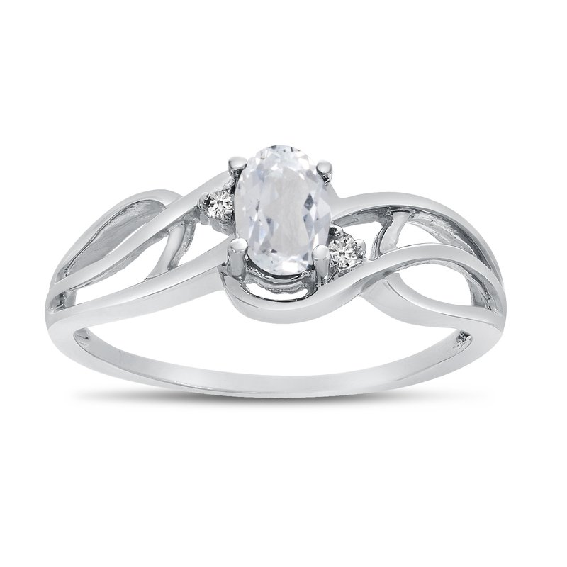 Color Merchants 10k White Gold Oval White Topaz And Diamond Curve Ring