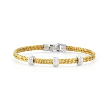 Yellow Cable Fused Bracelet with 18kt White Gold & Diamonds