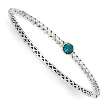 Sterling Silver w/14k London Blue Topaz Bangle