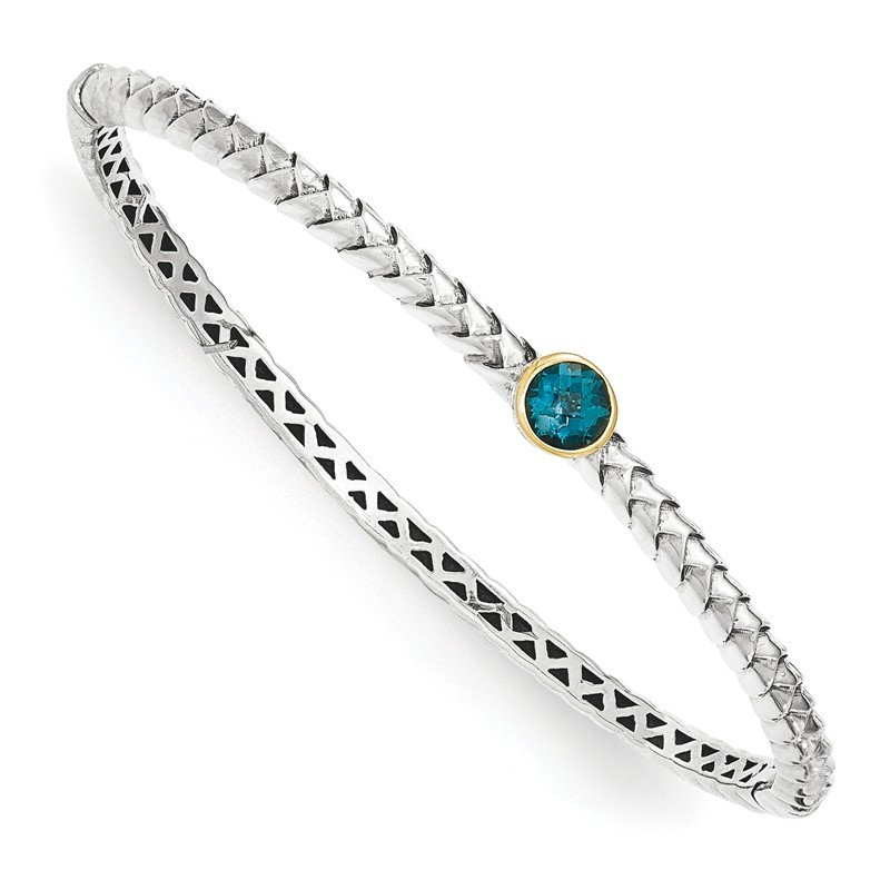Shey Couture Sterling Silver w/14k London Blue Topaz Bangle