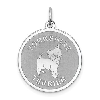 Sterling Silver Rhodium-plated Yorkshire Terrier Disc Charm