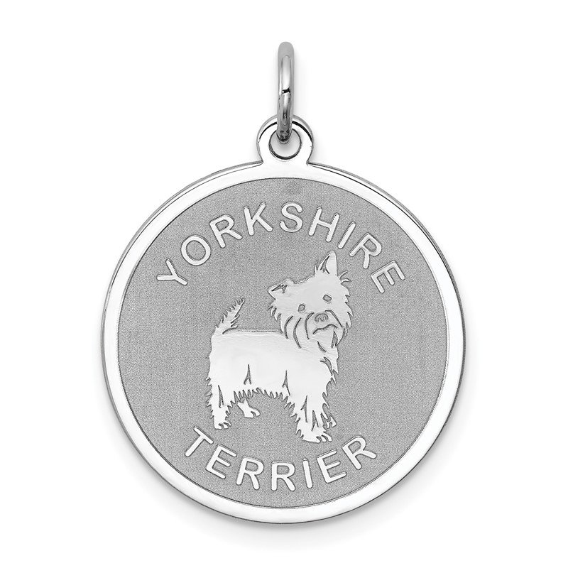 Quality Gold Sterling Silver Rhodium-plated Yorkshire Terrier Disc Charm