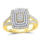 Gold-N-Diamonds, Inc. (Atlanta) 10kt Yellow Gold Womens Round Diamond Rectangle Cluster Split-shank Ring 1/4 Cttw