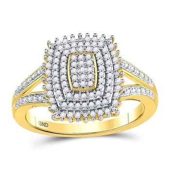 10kt Yellow Gold Womens Round Diamond Rectangle Cluster Split-shank Ring 1/4 Cttw