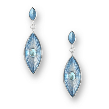 Sterling Silver Marquis Stud Earrings-Blue. Blue Topaz