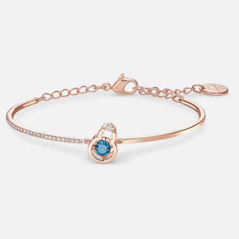 Full Blessing Hulu Bangle, Blue, Rose-gold tone plated