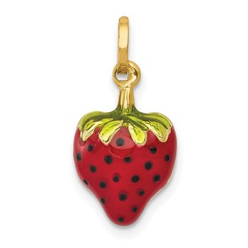 14k Enameled Puffed Strawberry Charm