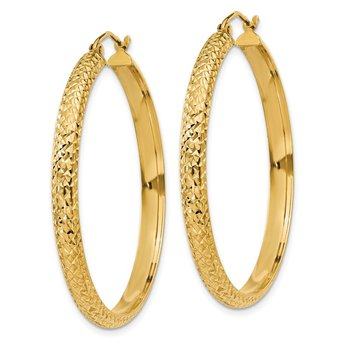14K Diamond-cut 3.5x38mm Hollow Hoop Earrings