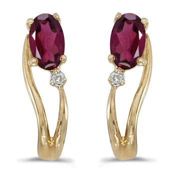14k Yellow Gold Oval Rhodolite Garnet And Diamond Wave Earrings
