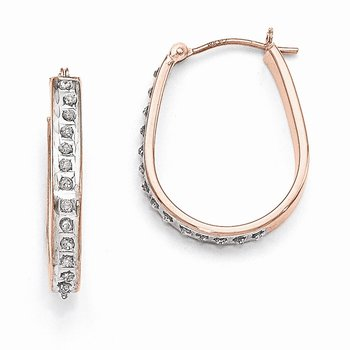 14k Rose Gold Diamond Fascination Pear Hinged Hoop Earrings