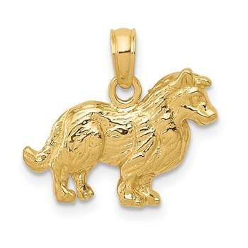 14k Collie Dog Pendant