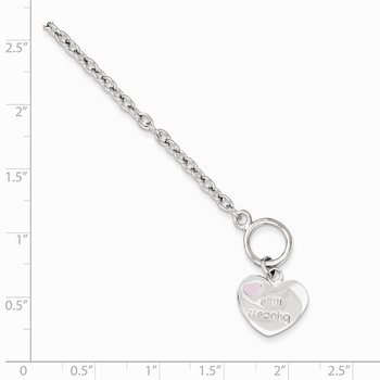 Sterling Silver Rhodium-plated Childs Heart Bracelet