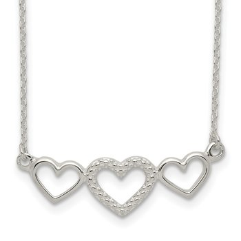 Sterling Silver Polished/Textured Three Heart Necklace