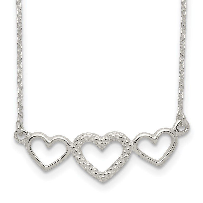 Quality Gold Sterling Silver Polished/Textured Three Heart Necklace