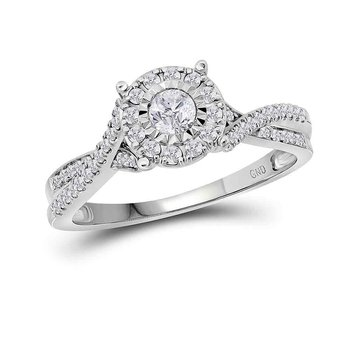 14k White Gold Womens Round Diamond Halo Bridal Wedding Engagement Anniversary Ring 1/3 Cttw