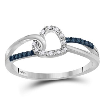 10kt White Gold Womens Round Blue Color Enhanced Diamond Captured Heart Ring 1/10 Cttw