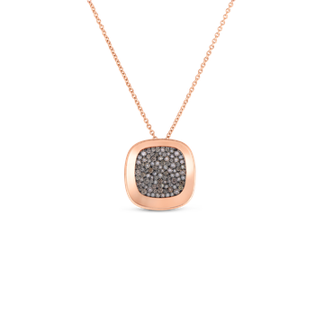 18Kt Gold Small Pendant With Brown Diamonds