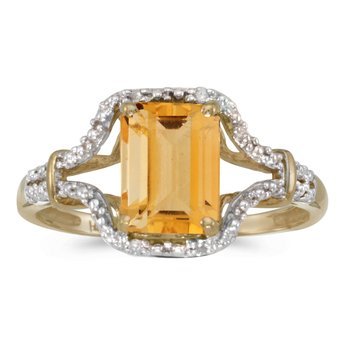 14k Yellow Gold Emerald-cut Citrine And Diamond Ring