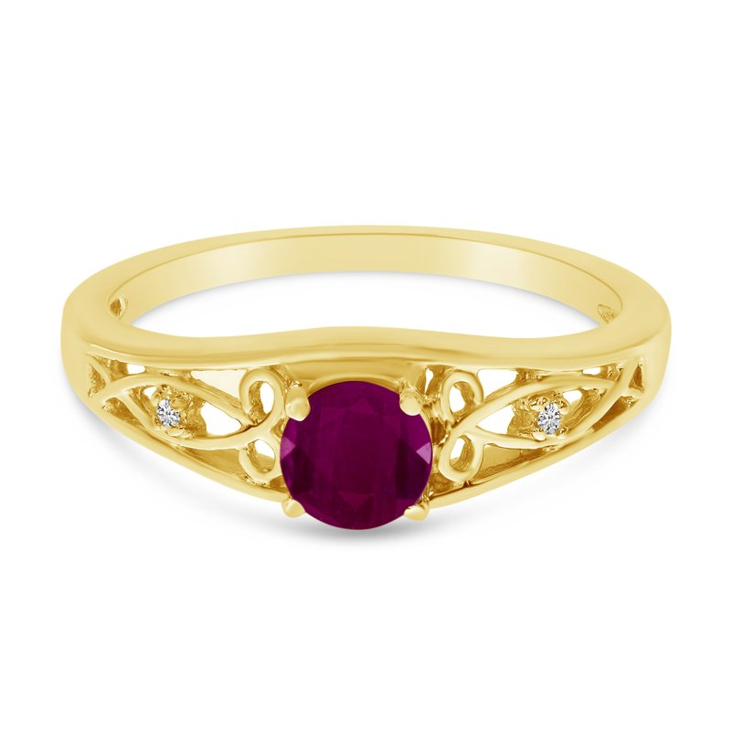 Color Merchants 10k Yellow Gold Round Ruby And Diamond Ring