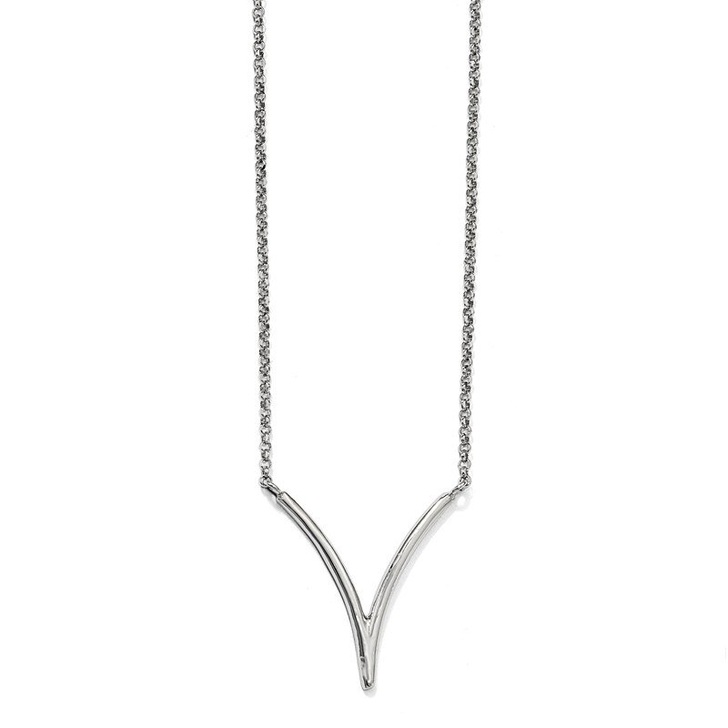 Leslie's Sterling Silver Polished Textured with 2in ext. Necklace