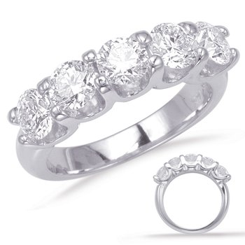 White Gold Prong Set Band