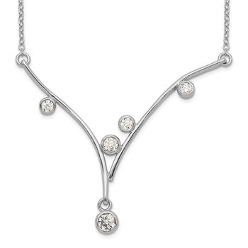 Sterling Silver Rhodium-plated CZ V-Bar w/1in ext Necklace