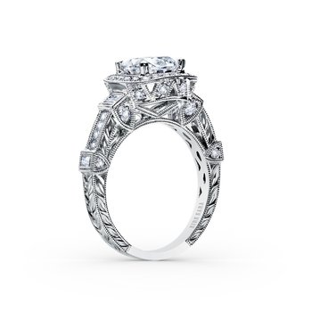Architectural Halo Diamond Engagement Ring
