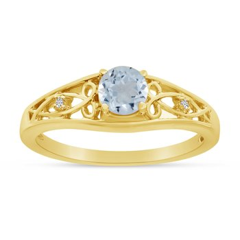 10k Yellow Gold Round Aquamarine And Diamond Ring