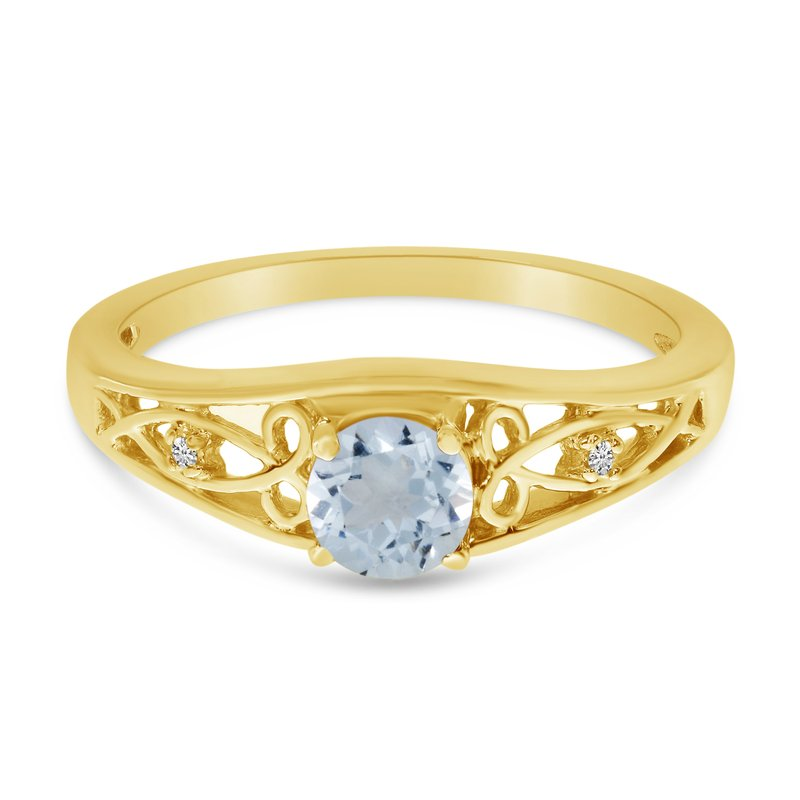 Color Merchants 10k Yellow Gold Round Aquamarine And Diamond Ring