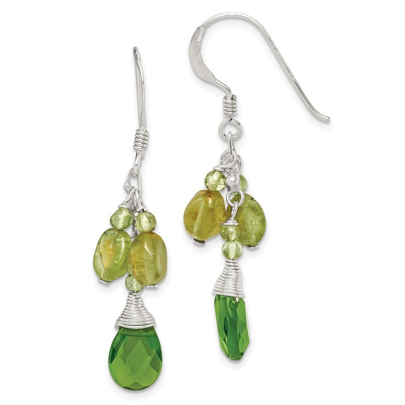 Quality Gold Sterling Silver Green Peridot Crystal Drop Earrings