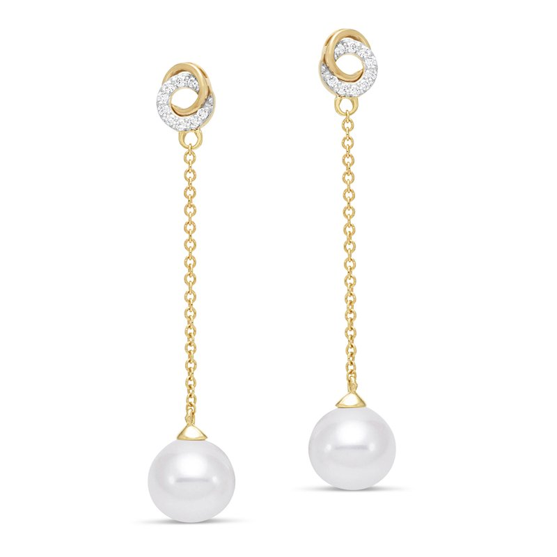 Mastoloni Pearls Double Circle Chain Drop Earrings