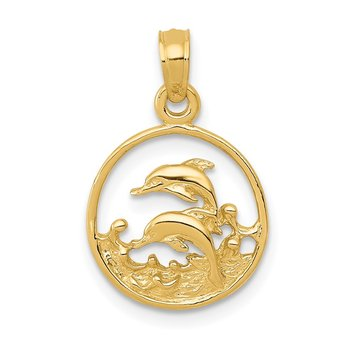 14k Double Dolphin Circle Pendant