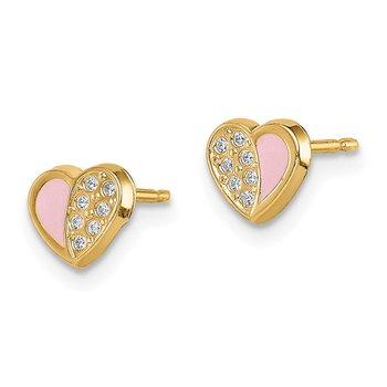 14k Madi K CZ Pink Enamel Heart Post Earrings