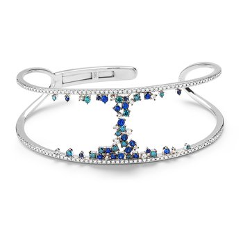 Beautiful Open Design 14K Blue & White Diamonds 1.24C & Blue Sapphire 0.67C Bangle