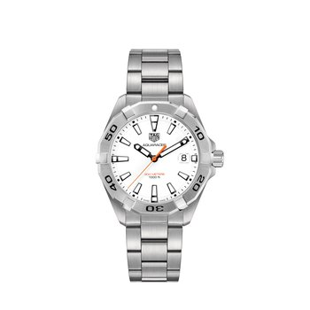 Aquaracer Steel Watch. The 41 mm Quartz Watch Has A White Dial, Steel Rotating Bezel And A Steel Bracelet With Folding Clasp And Wet-Suit Extension. Model WBD1111.